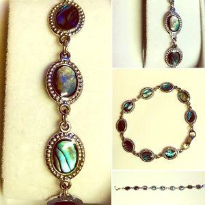 Abalone Sterling Silver Chain Bracelet